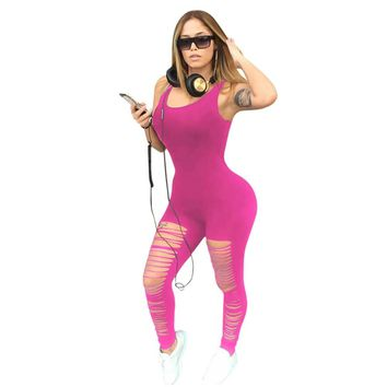 Yuerlian Women Sexy Burn Out Cut Out Jumpsuits Holes One Piece Rompers 2017 Lady Tanks Jumpsuits Bodyon Backless Outfits Leotard