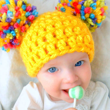 Newborn Baby Girl Hat Chunky Yellow Pink White Blue Purple pastel Crochet Knit Infant Double Pom Pom Beanie Photography Prop