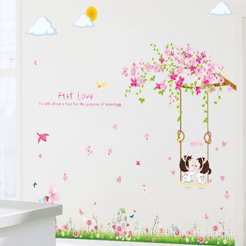First love flower branches swing sitting room bedroom home decoration wall stickers on the wall SM6