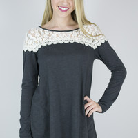 Top Lace Long Sleeve Top