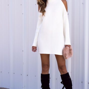 White Knit Mock Longsleeve Dress