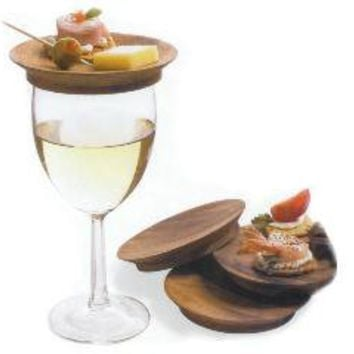 Wine Glass Top Appetizer Plates - Set of Four   Tapas Plates, Wood, Kitchen, Green, Hostess Gifts, Entertaining, Appetizer Plates, Acacia   Catching Fireflies