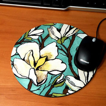 Mouse Pad / Hot Pad  Magnolia Branch in Aqua w/ by MarciAnnDesigns