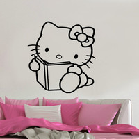 Hello Kitty Reading Inspired Vinyl Wall Decal Sticker Art