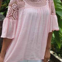 Bangles Boutique — BLUSH PINK PEEK A BOO LACE TOP WITH RUFFLE SLEEVES