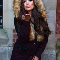 Chrissy Burgundy Leatherette Faux Fur Trim Parka Coat | Pink Boutique