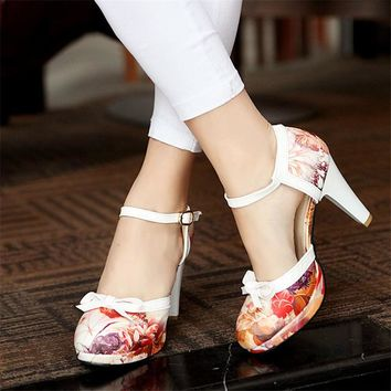 YMECHIC Lolita High Heels Ladies Printed Ankle Strap Mary Jane Party Shoes Bowtie Butterfly-knot Spike High Heel Pumps Summer