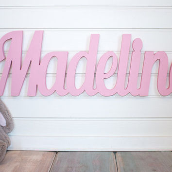 nursery name sign Name Plaque Large PAINTED Personalized nursery name baby name wall hanging nursery decor wooden wall art above a crib