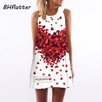 Summer Dress Sleeveless Floral Print Casual Women Above Knee Dresses