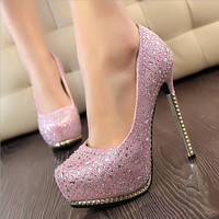 Fashion round head waterproof platform heels