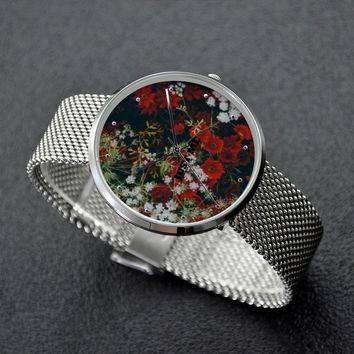 Floral Quartz Watch With Stainless Steel Band