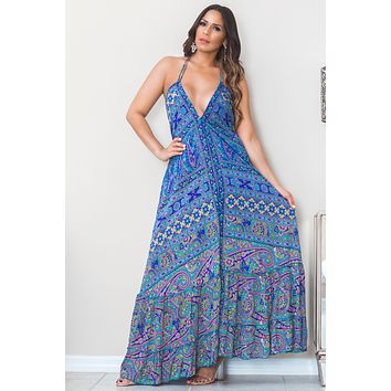 Greta Multi Color Plunging Neck Open Back Print Boho Maxi Dress