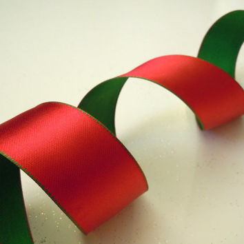"Christmas wired Ribbon wired Christmas ribbon decorations double faced satin ribbon red green Christmas Ribbon wreaths make gift 1.5"" 5yd"