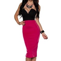Lace Girl Women's Sexy Strapless Black Top Pink Bottom Medium Length Party Dress
