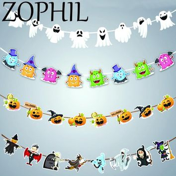 ZOPHIL Halloween Bunting Banner Pumpkin Ghost Witch Letters Hanging Flags Festival Decoration DIY Party Decor Supplies