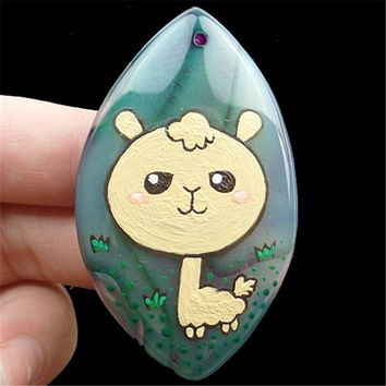 Hand Painted 57x34x7mm Alpaca Green Onyx Stone Olivary Pendant Bead Fit  DIY Necklace Jewelry