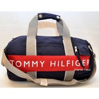 Tommy Hilfiger Red and Blue Small Duffel/Travel Bag at OrlandoTrend.com