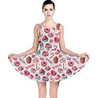 CowCow Womens Yummy Sweet Lollipop Candy Macaroon Cupcake Donut Seamless Skater Dress