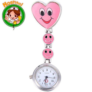 Nurse Fob Pocket Watch with Smile Face Quartz Movt