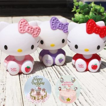 Pink Purple Red Hello Kitty Birthday Cake Toppers Halloween Birthday Party Dessert Table Party Decorations Cake Evening Party