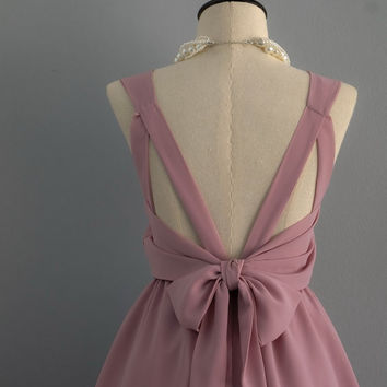 Party V Backless Dress Rosy Brown Dress Rosy Brown Prom Party Dress Rosy Wedding Bridesmaid Dress Bow Back Dress Cocktail Prom Dress XS-XL