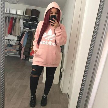 DCCKH3F Adidas Women Fashion Hooded Top Pullover Sweater Sweatshirt Hoodie