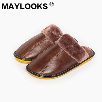 2017 Maylooks Men's Winter Cow Leather Soft Slippers Cozy Warm Lining Bedroom Mule House Slippers M-8003