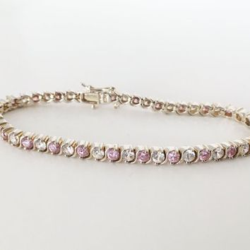 Sterling Silver Tennis Bracelet Dainty Pink Clear Glass Rhinestones Signed 925 Sweet Sixteen Birthday Valentines Day Gift for Her
