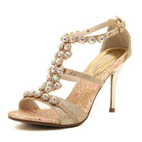 Stylish Design Summer High Heel Rhinestone Sandals = 4814692804