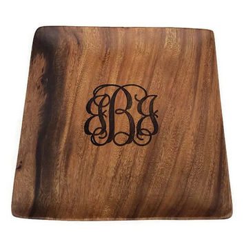 "Monogrammed Serving Tray/ Plate Personalized Engraved Wood Gifts 12"" Wood Tray Item #W0061E"