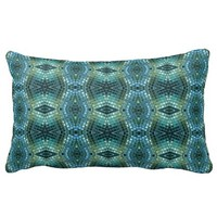 Green and Blue Jewel Toned Mosaic Pillow
