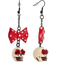 Sugar Skull Red Polka Dot Bow Dangle Earrings | Body Candy Body Jewelry