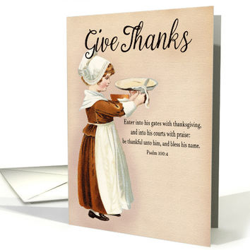Girl Cutting Pie for Christian Give Thanks Thanksgiving card