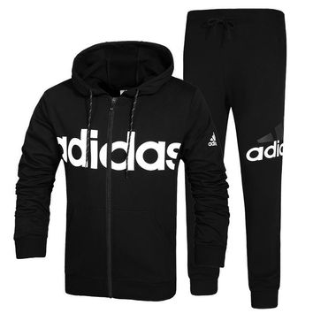 Adidas Women Men Fashion Casual Hooded Cardigan Jacket Coat Pants Trousers Set Two-Piece-1