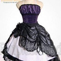 Lolita Troubadour: Boned Corset Dress& Vintage Lace Bustle Pinafore*Knee Length
