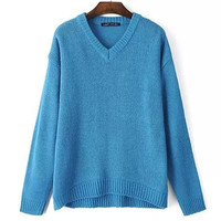 V Neck Pure Color Asymmetry Loose Knit Shirt