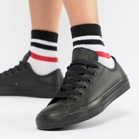 Converse Chuck Taylor Ox Trainers In Triple Black Leather at asos.com