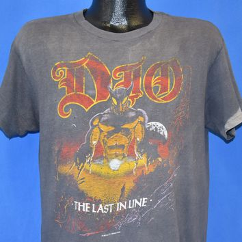 80s Dio Last In Line Tour Distressed Metal t-shirt Large
