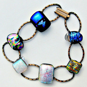 Fused Dichroic Glass and Hammered  Copper Dichroic Bracelet