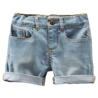 Stretch Denim Shorts - Rainwashed Light Wash
