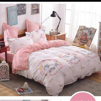 unicorn cartoon comforter bed bedding set 4/5pcs printing quilt duvet cover coverlet queen king twin pink girl bed sheets linens