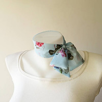 Light Blue Floral Mini Skinny Scarf, Flower Print Chiffon Neck Tie, Choker Scarf, Thin Scarf with Angled Ends, Headband, Spring Summer