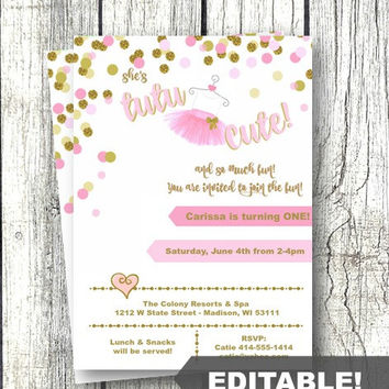 Tutu Birthday Invitation girl pink and gold 1st birthday or any age editable template printable instant download confetti invite ballerina