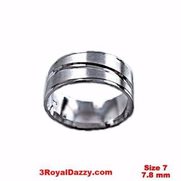 Lined Design Matte & Shiny 18k layer on Sterling Silver Ring Band 7.8 mm Size 7