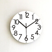 Black white wall clock simple minimalist round wall clock