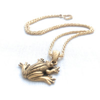 Frog Necklace, Gold Charm Necklace, Frog Prince, Animal Jewelry Gift