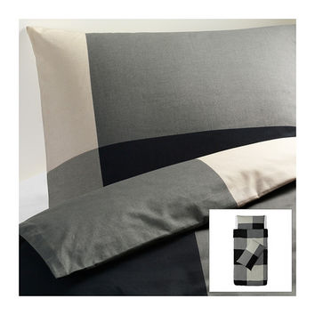 BRUNKRISSLA Quilt cover and 2 pillowcases, black, grey - black/grey - 150x200/50x80 cm - IKEA