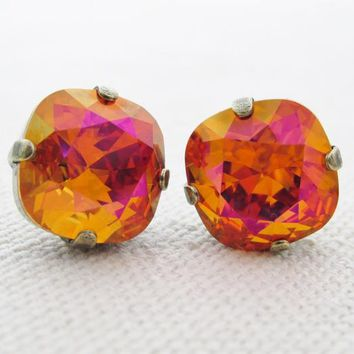 Swarovski Necklace and Earrings, Orange and Pink Rhinestone Jewelry,Matching Earrings and Necklace, Swarovski Astral Pink Rhinestone Jewelry
