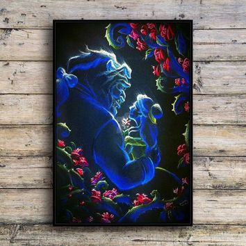 Beauty and the beast Canvas Print Wall Art Fashion Home Decor Living Room bedroom Oil Paintings