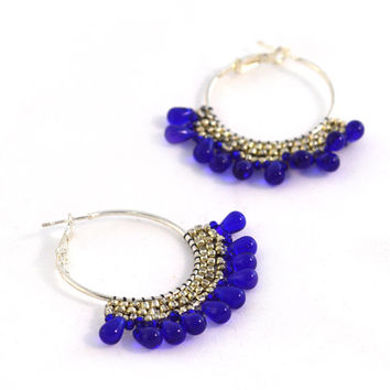 Cobalt Blue and Silver Colored Hoop Earrings